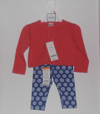 New WT Gymboree Baby Girl 2 Piece Cotton  Sweater & Pants Set Size 6 - 12 Months