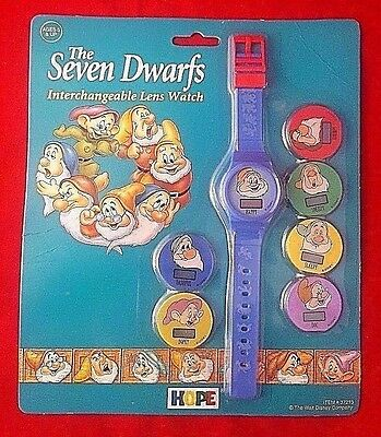 New! THE SEVEN DWARFS Interchangeable Lens Face Watch VTG 90's Disneyana
