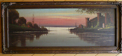 MORGAN, Early California Antique OLD OIL PAINTING, SIGNED IMPRESSIONIST NOCTURNE