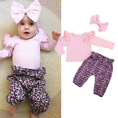 Newborn Baby Girls T-shirt Tops Long Pants Trousers Outfits Clothes Set UK Stock