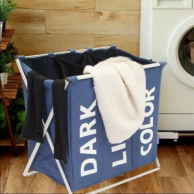 Laundry Hamper 3 Washing Basket Bag Sort Foldable Clothes Storage Organiser AU