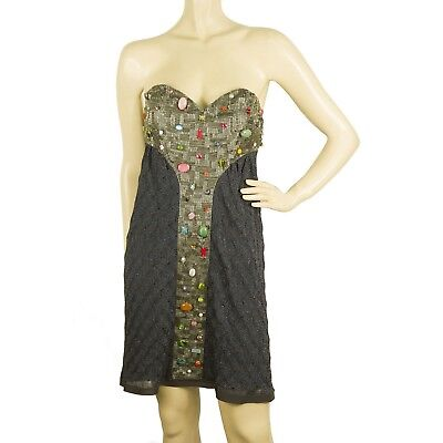 Missoni Blue Gray knitted Strapless miniembellished beaded dress IT size 44