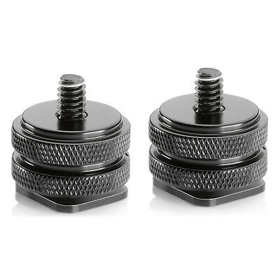 "Neewer 2pcs 1/4"" Tripod Screw to Hot Shoe Adapters Converter with Cleaning Cloth"