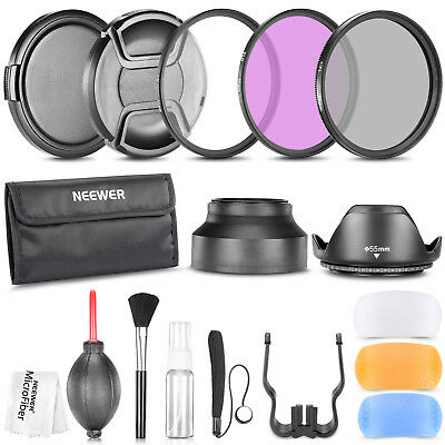 Neewer 55MM UV CPL FLD Filter Tulip and Collapsible Lens Hood Aceessory Kit