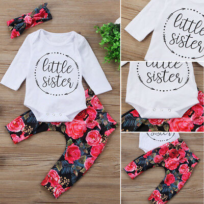 UK Stock Newborn Baby Girls Tops Romper Flower Pants 3Pcs Outfits Set Clothes
