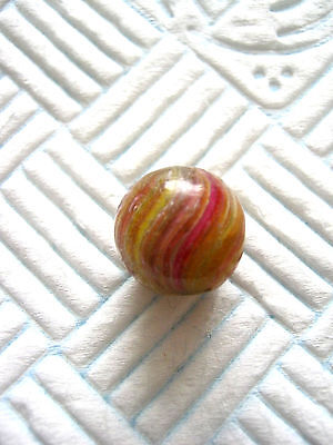 ANTIQUE MARBLE HANDMADE GERMAN ONIONSKIN UNUSUAL COLOURS 1850 - 1870 15mm