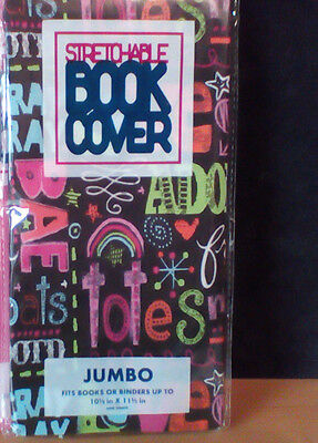 JUMBO Stretchable Fabric Book Cover Cute Sayings - New