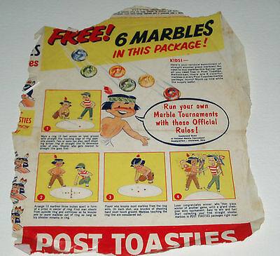 1950's Post Toasties Marbles cereal premium box back
