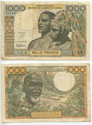 GB439 - Banknote French Westafrican States 1000 Francs 1961  A Côte d'Ivoire