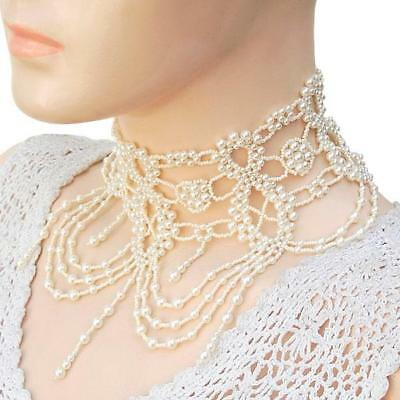 Grand Victorian Creme Pearl Choker Necklace Set Wedding Ball Formal