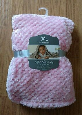 ADIRONDACK Baby Blanket Soft Shimmery Infant Lovey Toddlers Girls Pink NEW NIP