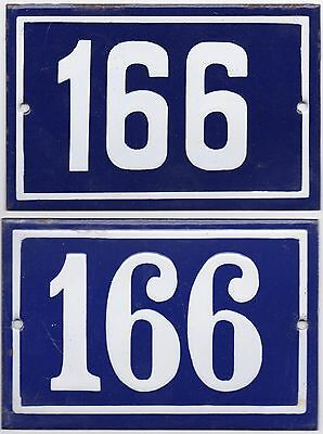 Old blue French house number 166 door gate wall street sign plate plaque