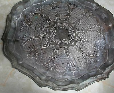 Austro Hungarian Antique Fine Solid Silver Round Curved Platter Or Tray
