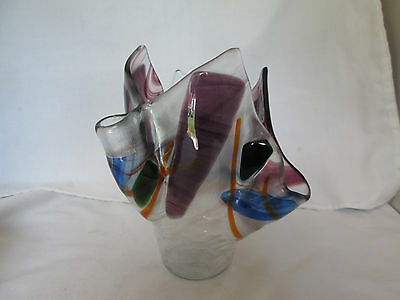 Veronica Wilson Hand Crafted Handerchief Vase Art Glass Geometric Design Frog Va