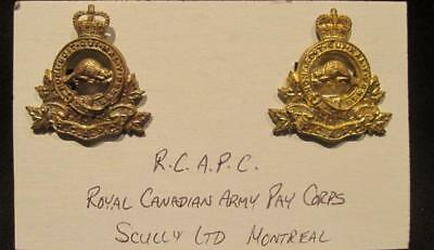 Royal Canadian Army Pay Corps Post WWII Pair of Brass Scully Collar Dogs RCAPC