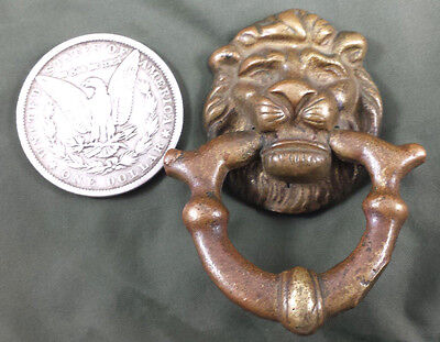 Vintage Solid Brass Lion Head Pull Handle Drawer Door Antique Hardware Steampunk