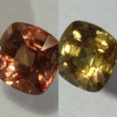 Color Change Garnet Natural Red Green Faceted 5.5 mm Square Cushion 1.03 Carat