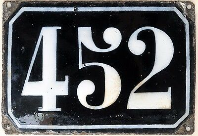 Large old black French house number 452 door gate plate plaque enamel metal sign
