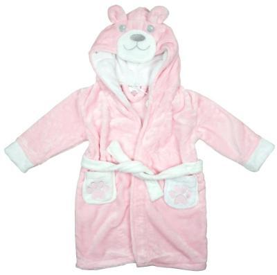 Girls Baby Toddler Teddy Bear Hooded Dressing Gown with Ears Pink 6 to 24 Months