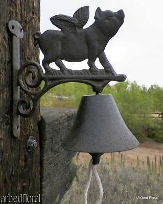 Cast Iron WHEN PIGS FLY Bell ~ Wall Mount Rich Sound Double Sided Flying Pig