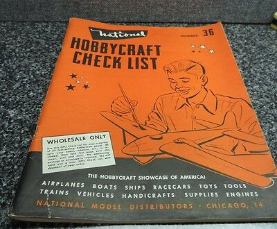 National Hobbycraft Check List Hobby Catalog 1950's Tether Cars Airplanes Models