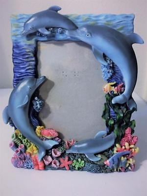 "Dimensional Ocean Dolphin Fish Coral Reef Table Picture Frame Photo Size 5""x7"""