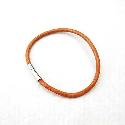 """16/"""" inch 40cm 3mm Brown Leather Choker Necklace Cord NON ALLERGY Pewter Clasp"""
