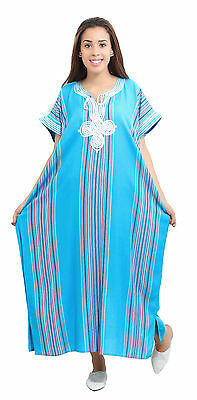 Moroccan Kaftan Caftan Beach Cover Up Summer Dress Casual Linen Sm-Lg Turquoise