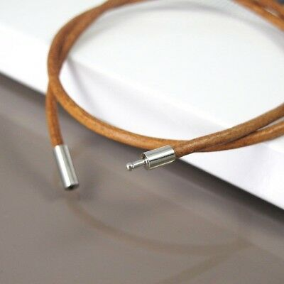 45cm 3mm Brown Leather Choker Necklace Cord NON Allergy Pewter Clasp Connector