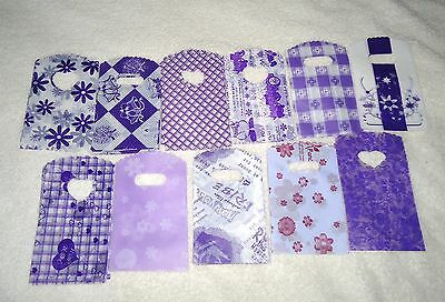 50 PURPLE SMALL PLASTIC GIFT JEWELLERY PARTY BAGS 15x9cm
