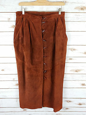 Vintage 80s Rust Suede Leather Midi Skirt 16 Highwaisted Toggle Buttons Western