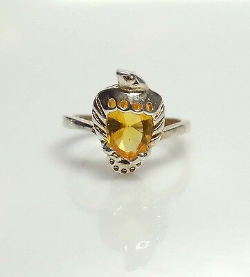 Vintage Sterling Silver & Golden Topaz Rhinestone STRAWBERRY Ring- Sz 4- 1.76 Gr