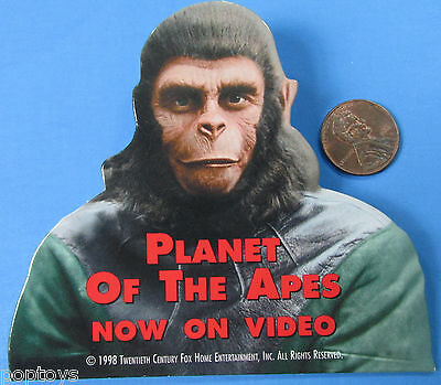 """PLANET OF THE APES BUTTON '98 vtg VIDEO PROMO - 3.75"""" x 3.25""""!"""