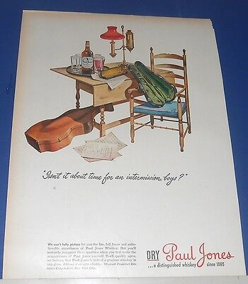 1944 Paul Jones Whiskey Ad musical instruments ~ boys intermission from practice