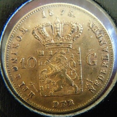 1875 Netherlands 10 Gilders 0.900 Gold Coin