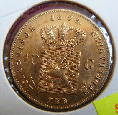 1875 Netherlands 10 Guilders 0.900 Gold Coin