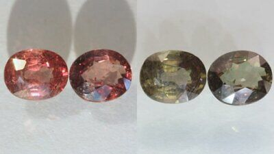 Pair Color Change Garnet Red Chocolate Faceted Ovals Untreated 2.56 carat total