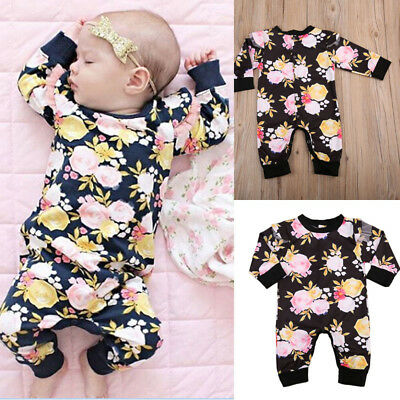UK Cotton Baby Girl Long Sleeve Floral Romper Jumpsuit Playsuit Outfits Clothes