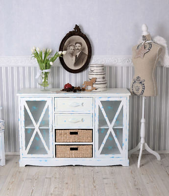 kommode vitrine landhaus anrichte weiss maritim schrank sideboard glas shabby eur 239 00. Black Bedroom Furniture Sets. Home Design Ideas