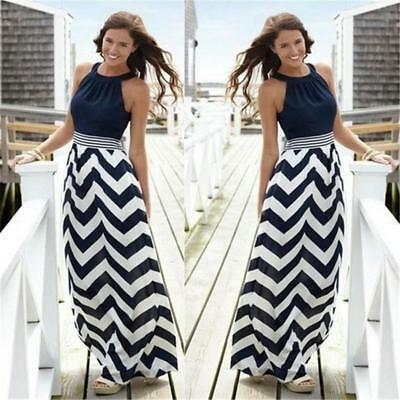 Women Summer Beach Skirt Stripe Casual Loose Sundress Party Long Maxi Dress BS