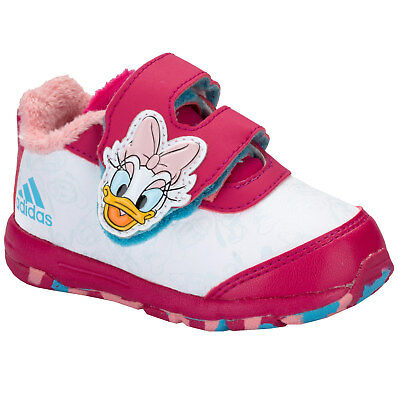 Girls adidas Girls Disney Classic Daisy Duck Trainers White pink - 9.5 infant