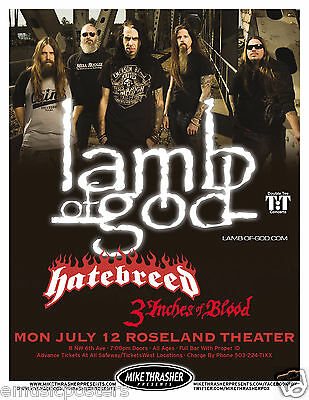 LAMB OF GOD/ HATEBREED/3 INCHES OF BLOOD 2010 PORTLAND CONCERT TOUR POSTER-Metal