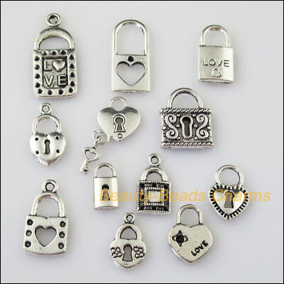 12 New Mixed Lots of Tibetan Silver Tone Locks Charms Pendants