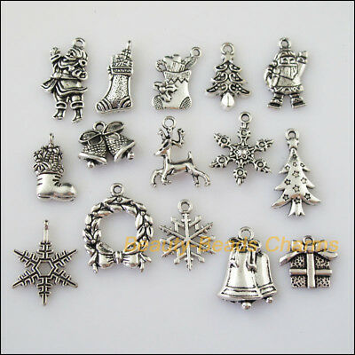 15 New Mixed Lots of Tibetan Silver Tone Christams Charms Pendants