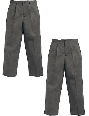 Top Class Boys Pleat Front Long Leg School Pack of Two Trousers