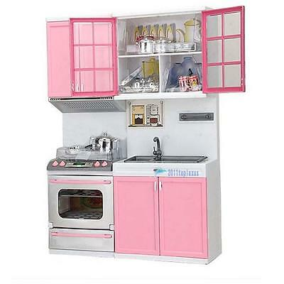 Pink Kids Kitchen Pretend Play Cooking Set Cabinet Stove Toy Gift Fun Toy Hot MT