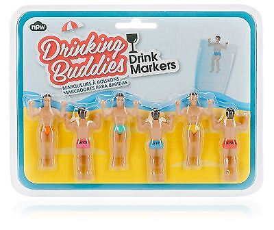 Drink Markers Drinking Buddies Men Set of 6 Girl's Hen Party Wine Glass
