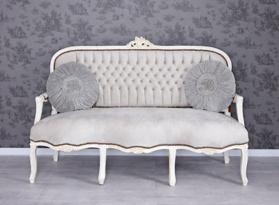 sofa 3 sitzer creme rose rokoko stil chippendale eur. Black Bedroom Furniture Sets. Home Design Ideas