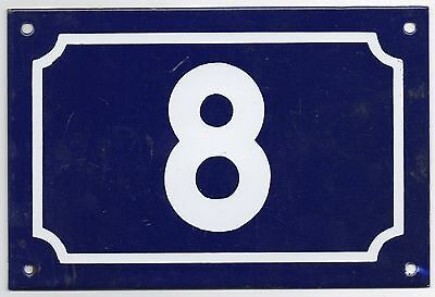 Large old French house number 8 door gate plate plaque enamel steel metal sign