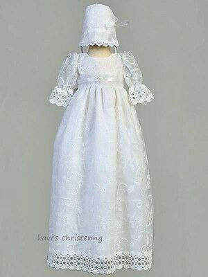 Girl White Christening Gown Baptism Dress Floral Tulle Lace Trim 0-18M Charlotte